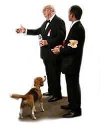 """""""Uno"""" handler Aaron Wilkerson &  Westminster Best In show Judge Dr. J. Donald Jones"""